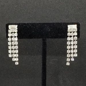 Rhinestone crystal dainty dangle clip-on earrings